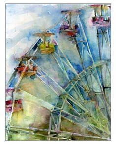 Ferris Wheel Watercolor Print   11  x 14 by dfrdesign on Etsy, $35.00