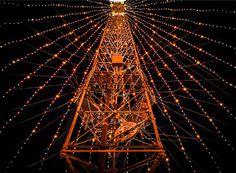 string lights, tower, night, dark, evening