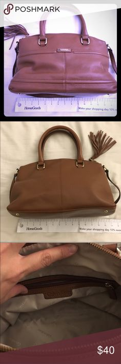 Calvin klein pebbled leather satchel brown Like new. Super cute satchel with fringe zipper pull. Also comes with a shoulder strap to keep your hands free.                                                                      🎉Everything must go!                                                     🚫All prices are firm.                                                     ❌No low ballers.                                                     🛍Get 20% off if you bundle 3 or more…