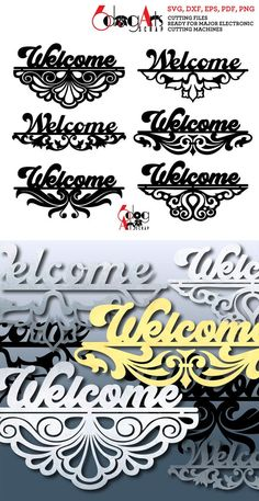Stencil Templates, Stencil Patterns, Art Template, Welcome Stencil, Name Plate Design, Wood Burning Techniques, Cnc Cutting Design, Stencil Painting, Rock Painting