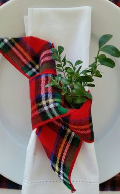 White linen and tartan ribbon                                                                                                                                                                                 More