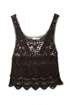 Crop Crochet Top Black