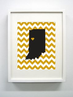 West Lafayette Indiana State Giclée Print  8x10  by PaintedPost, $15.00 #paintedpoststudio - Purdue University - Boilermakers- What a great and memorable gift for graduation, sorority, hostess, and best friend gifts! Also perfect for dorm decor! :)