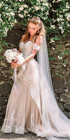 Main 20 Classy Wedding Gowns Lace Fit and Flare Bridal Style for Simple Princess Look Check latest w Latest Wedding Gowns, Wedding Dress Trends, Gorgeous Wedding Dress, Dream Wedding Dresses, Bridal Dresses, Elegant Wedding, Wedding Unique, Maxi Dresses, Casual Wedding