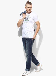 8b5361b3c67 Buy Pepe Jeans White Printed Slim Fit Round Neck T-Shirt Online - 5738724 -  Jabong