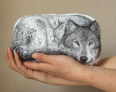 Wolf plush woodland wolf fantasy pillow wild animal home decor black white handpainted cushion