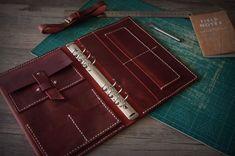 Leather Ring Binder Portfolio Journal Hand Stitched by fenot