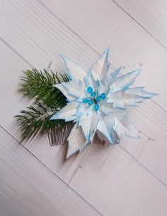 Winter hair comb Christmas hair piece holiday hair clip Christmas tree hair Accessories Christmas present brooch snowflake Christmas Gift