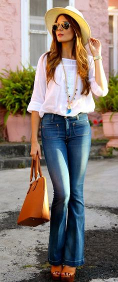 Adorable, Flared jeans and boho top & hats!! Wish I could wear them!!