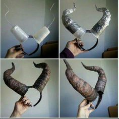Maleficent Costume: 7 ideas for a homemade costume Ideas to make a homemade Maleficent costume. Maleficent costume, learn to make the horns and other details of this homemade Halloween costume. Holidays Halloween, Halloween Make Up, Halloween Crafts, Halloween Decorations, Halloween Party, Halloween Office, Halloween 2018, Halloween Recipe, Outdoor Decorations
