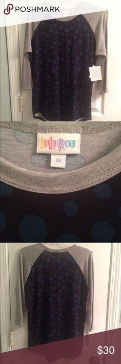 LulaRoe Randy T size M NWT Purple with tealish blue polka dots Randy T (baseball T). NWT LuLaRoe Tops Tees - Long Sleeve