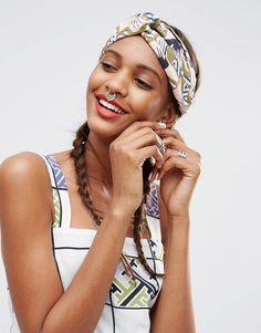 Image 1 ofASOS AFRICA Geo Floral Print Twist Headband