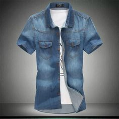 Cheap denim shirt men, Buy Quality denim shirt men brand directly from China short sleeve shirt Suppliers: 2017 Men Jeans Short Sleeve Shirt Denim Shirts Men's Single Breasted Patchwork Cowboy Camisas Chemise Homme Brand Clothing Tops Jean Shirt Men, Denim Shirt With Jeans, T Shirt, Sweatshirt, Denim Shirts, Mens Dress Shorts, Denim Short Dresses, Casual Shirts, Casual Outfits