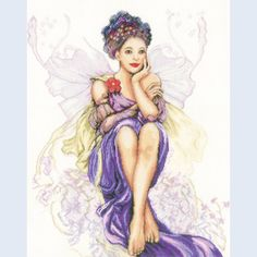 Girl with Butterflies - counted cross-stitch kit Lanarte