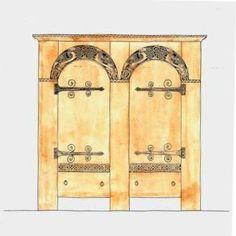 Carved Wooden Viking Revival wardrobe furniture