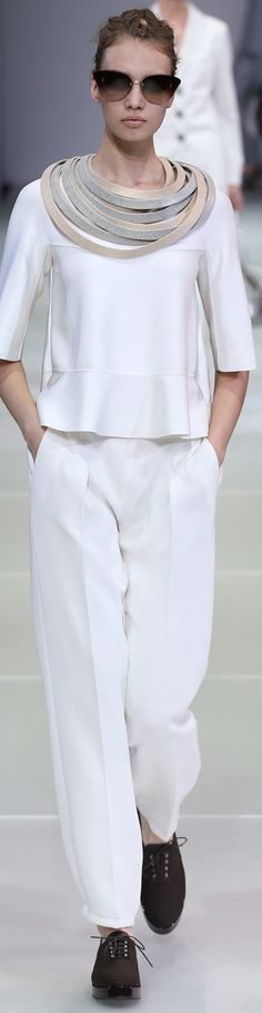 Giorgio Armani Collection Spring 2015; like the top, but not the bands around her neck!