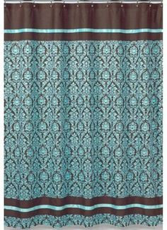"Turquoise and Brown Bella Kids Bathroom Fabric Bath Shower Curtain - turquoise blue and brown damask print fabric with coordinating espresso chocolate brown cotton and turquoise blue satin ribbon.  It is 100% cotton with satin ribbon 72"" x 72"".  				    											  											  												  													1  													2  													3  													4  													5"