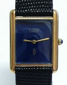 Must de Cartier Mens Tank Gold Vermeil Watch Manual Wind Blue Dial   eBay
