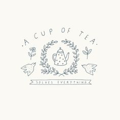 Tea Brands, Dark Thoughts, Logo Design, Graphic Design, Doodle Designs, Tea Art, Monochrom, Hand Embroidery Designs, Bullet Journal Inspiration