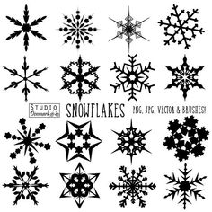 Snowflake Brushes - Christmas Snow Clipart and Vectors - Ice Crystals / Winter / Frozen Commercial a Ice Tattoo, Snow Tattoo, Snow Flake Tattoo, Doodle Tattoo, Doodle Art, Christmas Snowflakes, Christmas Art, Christmas Boxes, Schnee Tattoo