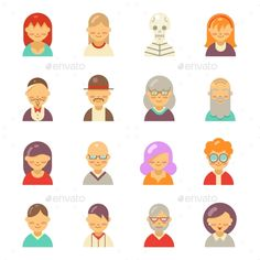 Flat people icons for app user avatar face. Man and woman vector flat icons. User avatar, face avatar people set, character avatar