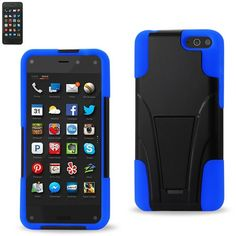 Reiko Silicon Case+Protector Cover Amazon Fire Phone New Type Kickstand Navy Black