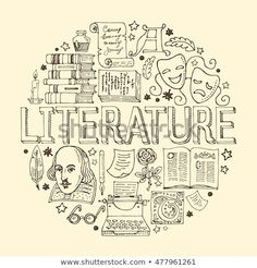Literature hand drawn vector illustration with doodle .- Gezeichnete Vektorillustration der Literatur Hand mit Gekritzelikonen, -bildern … Literature hand drawn vector illustration with doodle icons, images and objects arranged in a circle – # objects - Doodle Icon, Doodle Art, Doodle Images, School Notebooks, Math Notebooks, Sketch Notes, Notebook Covers, School Notes, Cover Pages