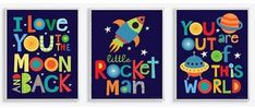 Stupell Home Décor I Love You To The Moon And Back Textual Art 3 Piece Wall Plaque Set, 11 x x Proudly Made in USA *** Be sure to check out this awesome product. (This is an affiliate link and I receive a commission for the sales) Space Themed Nursery, Nursery Decor Boy, Boy Room, Kids Room, Baby Boy Art, Playroom Furniture, Playroom Ideas, Playroom Decor, Wall Decor
