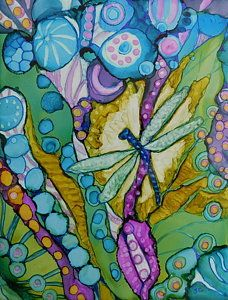 Alcohol Ink Painting - Garden Jewel by Joan Clear