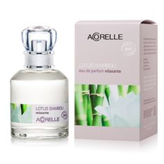 Acorelle Bamboo Lotus Perfume 1.7oz(op). Fine French Fragrance—made with organic alcohol and 100% natural fragrance materials. No synthetic fragrance. No phthalates.  Bamboo Lotus starts with a top range of lemon, bergamot, orange, and tangerine. Its initial notes are zesty and soft while its after scent is lengthened by a soft relaxing woody chord combining patchouli and cedar.  Soothing and restorative. Clearance price of $35.00.