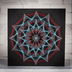 """Купить """"ледяной взрыв"""" в стиле стринг арт - разноцветный, картина в подарок, картина, панно, гвозди"""