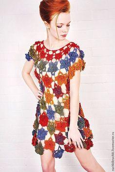 """Купить Платье """"Ты дарила мне розы"""" крючком из тонкой шерсти - цветочный, платье крючком"""