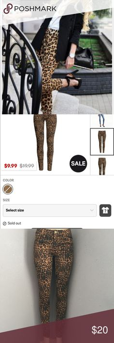 H&M Leopard Jeans (sold out @ H&M) Super modern, current , edgy and sold out at H&M. No worries get them here, brand new never worn just tried on. Also these are super SLIM. Five pocket super-stretched washed twill with slim legs and regular waist. Material is   70% cotton, 27%polyester, 3% spandex. H&M Jeans Skinny