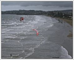 This photo from Auckland, North Island is titled 'Kite Surfing at Orewa Beach'. Auckland, New Zealand, Surfing, The Incredibles, Island, Live, Beach, Water, Pictures