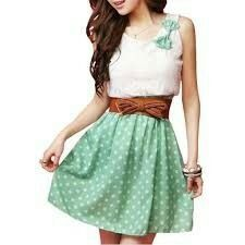 Cute girly fashion outfits ideas for summer 02 ~ Dresses for Women Pretty Summer Dresses, Cute Summer Outfits, Cute Dresses, Dress Summer, Dresses 2014, Casual Dresses, Short Dresses, Belted Dress, Dot Dress