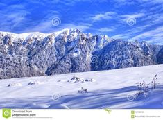 Winter landscape in a beautiful sunny day. Blue sky partly cloudy, mountain covered in snow, trees and field covered in snow. Peaceful panorama. Alpine scene in Carpathian Mountains near Brasov, Romania  alpine,blue,day,landscape,mountain,mountains,panorama,ski,sky,slope,snow,snowy,winter,adventure,alpes,alps,altitude,austria,background,breathtaking