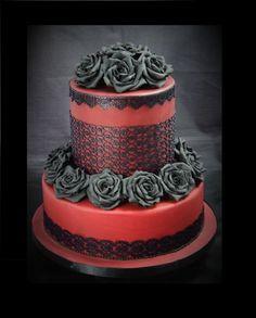 Gothic Wedding Cake - Cake by Christine Ticehurst Gothic Wedding Cake, Gothic Cake, Red Velvet Wedding Cake, Cake Wedding, Pretty Cakes, Cute Cakes, Beautiful Cakes, Amazing Cakes, Beautiful Desserts
