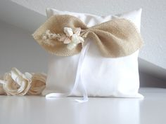 Ring pillow with burlap bow for country wedding