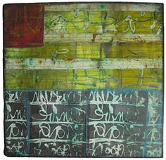 Words That Remain  Mixed media collage (textiles, encaustic wax, pigments): 20in. x 20in., 2011-Jennifer Solon