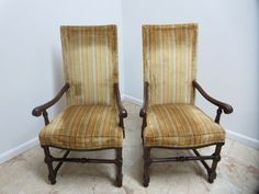 Pair Mid Century Charter Oak Jacobean Carved Fire Side Dining Chairs | eBay