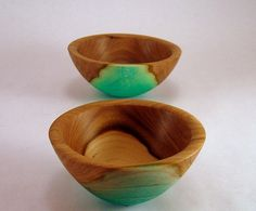 Blue Carnival IV Elm Bowls. Wood turning created by Greg Gallegos of Natural Selection Studio