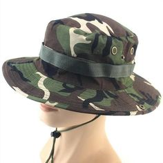 df9db6ec4da SUMMER BUCKET HATS MILITARY CAMOUFLAGE HAT FOR MEN JUNGLE FISHERMEN HATS  WITH WIDE BRIM SUN HAT