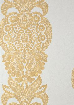 ROWAN DAMASK, Metallic Gold on Silver, T89131, Collection Damask Resource 4 from Thibaut