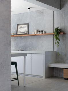 Decor, Concrete Floors, Concrete House, Concrete Houses, Concrete Kitchen, Interior, Modern Interior, Recycled Concrete, Recycled Brick