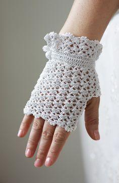 CLEARANCE White Lace Gloves Hand Crochet Fingerless by SENNURSASA