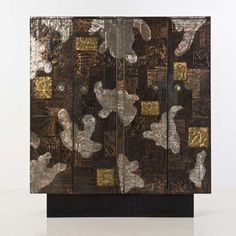 Paul Evans; Copper, Steel, Brass and Wood Cabinet for Directional, 1968.
