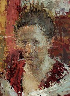 Shannon in red, 2015 | Oil on copper | 12 x 9 inches - Ann Gale