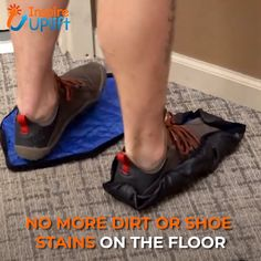 Hands Free Reusable Shoe Covers 😍 These Hands Free Reusable Shoe Covers are extremely easy to use, and the covers can be put on hands-free! Simply lay the covers flat on the ground and step onto them. When pressure is applied, they automatically fasten t