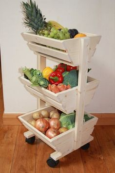 This pallet fruit and vegetable storage rack has divided into three portions which are in square shape and also has wheels to move wherever you want. It is a pretty and eye- catching rack. You can keep vegetables and fruits of your daily routine in it. This is compact pallet fruit and vegetables storage rack, which can be placed easily in the kitchen.