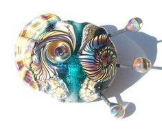 Sea Horse Ocean Fossil Teal Tide handmade lampwork bead by Genea
